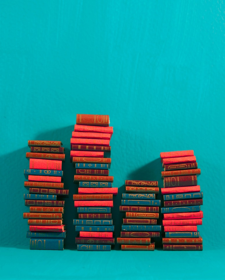 turquoise book stacks