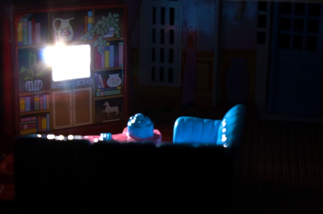 My Pretty Dollhouse furniture set inside house wired with an LED light