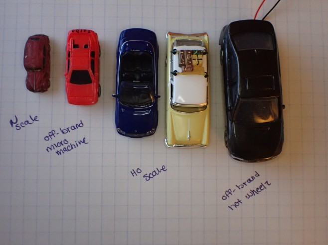 Scale Car Comparison - N scale, Micro Machines, HO scale, Hot Wheels