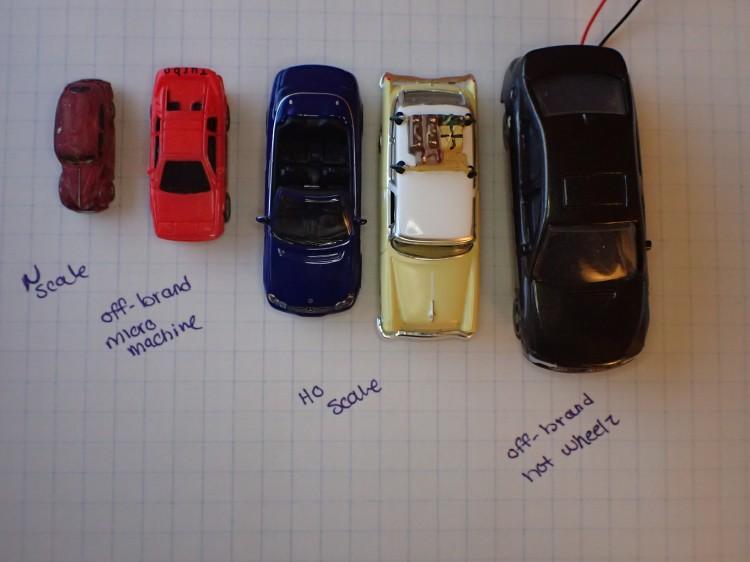 Scale Car Comparison - N scale, Micro Machines, HO scale, Hot Wheels