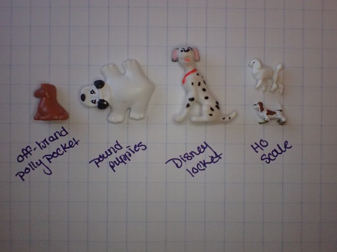 Scale Dog Comparison - Polly Pocket, Pound Puppies, Disney Locket, HO scale