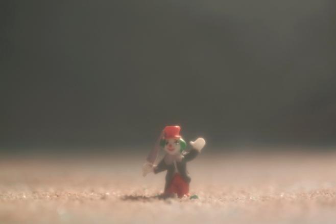 clown in fog