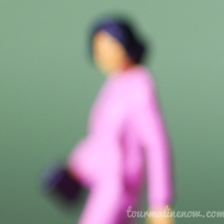 light green and pink blurred portrait, toy photography by Tourmaline .