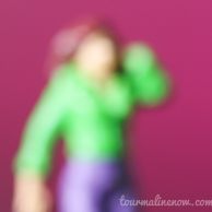 magenta, green and purple blurred portrait, toy photography by Tourmaline .