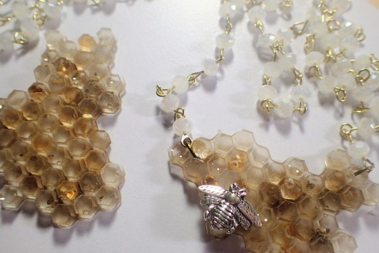 resin honeycomb necklace by Tourmaline .