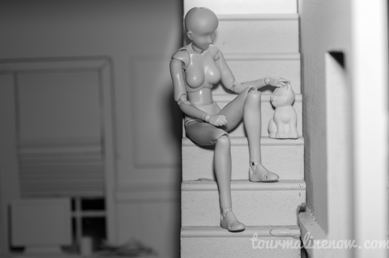 Figure sits on stairs with cat in all grey environment, toy photograph by Tourmaline .