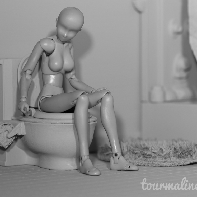 Figure using toilet in all grey environment, toy photograph by Tourmaline .