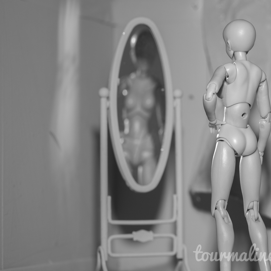 Figure looks in full length mirror in all grey environment, toy photograph by Tourmaline .
