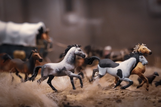 Tourmaline . toy photograph of Wild West David Levinthal Smithsonian Diorama - 4 horses running with horse drawn carriage in background