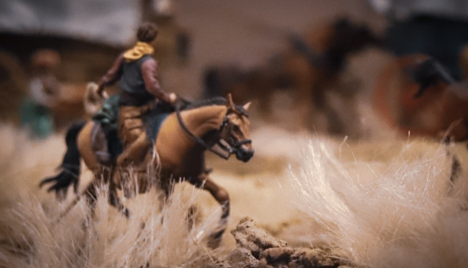 Tourmaline . toy photograph of Wild West David Levinthal Smithsonian Diorama - Man riding horse