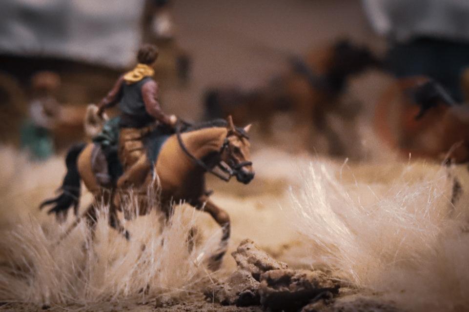 Tourmaline . toy photograph of Wild West David Levinthal Smithsonian Diorama - Man riding horse