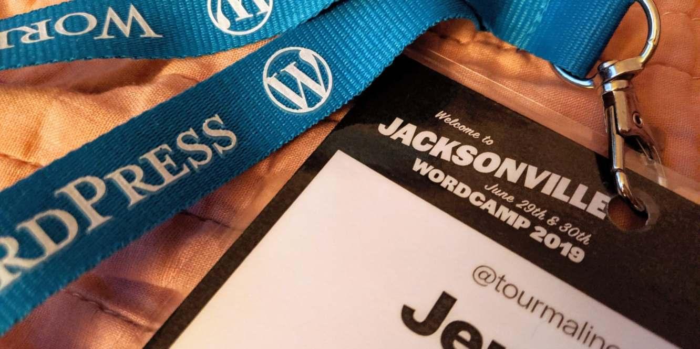 Wordcamp Jacksonville 2019 attendee badge