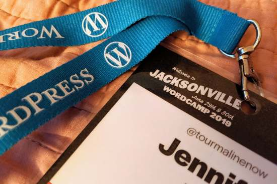 Wordcamp Jacksonville 2019 attendee badge