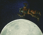 Astronaut floating over the moon, toy photography by Tourmaline .