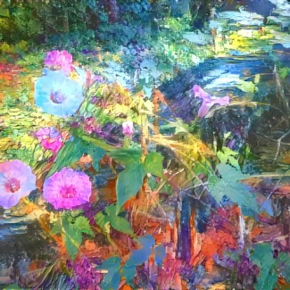 Floral shot edited with Deep Dream generator